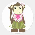 Mono de Hula Pegatinas Redondas