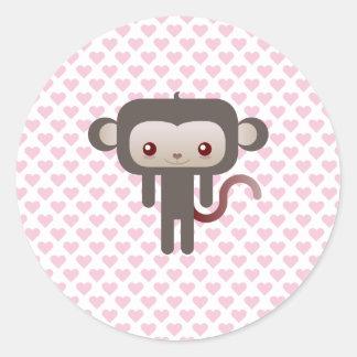 Mono de Kawaii Pegatinas Redondas