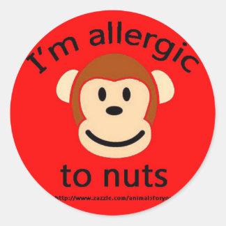 Mono de la alarma de la alergia de la nuez pegatina redonda