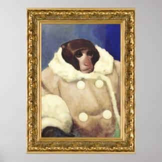 Mono de la capa en un marco del oro póster