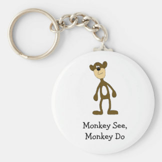 Mono de la cuadrilla del dibujo animado llavero redondo tipo pin