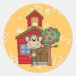 Mono de la escuela pegatinas redondas