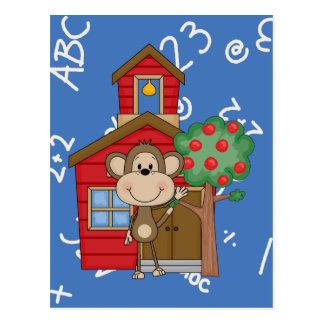 Mono de la escuela tarjeta postal