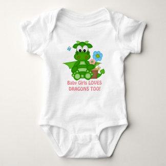 mono de la fantasía del dragón de la niña body para bebé