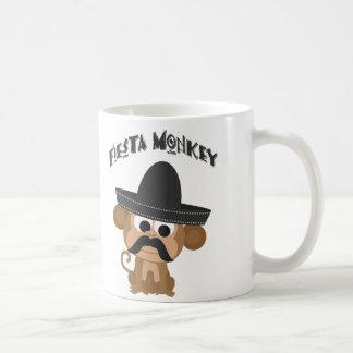 Mono de la fiesta taza básica blanca
