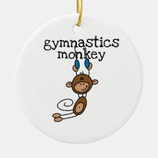 Mono de la gimnasia adorno redondo de cerámica