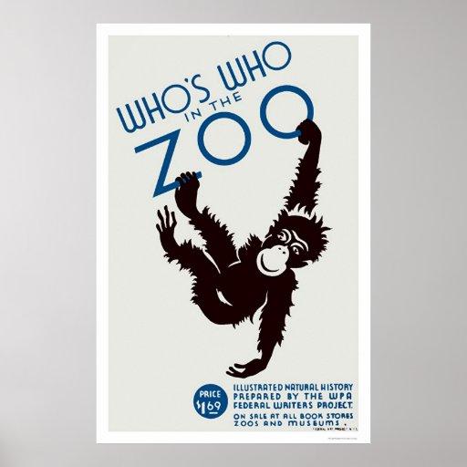Mono de la guía del parque zoológico WPA 1937 Póster