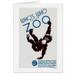Mono de la guía del parque zoológico WPA 1937 Tarjeta De Felicitación