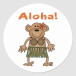 Mono de la hawaiana pegatina redonda