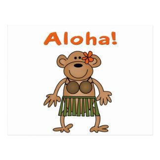 Mono de la hawaiana tarjetas postales