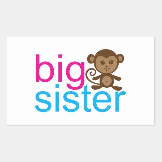 Mono de la hermana grande pegatina rectangular