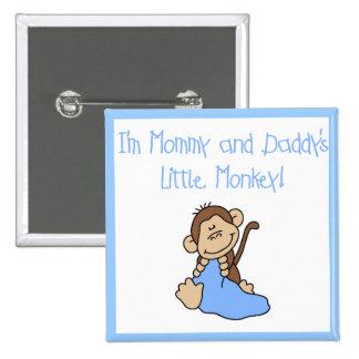 Mono de la mamá y del papá - camisetas y regalos a pin cuadrado