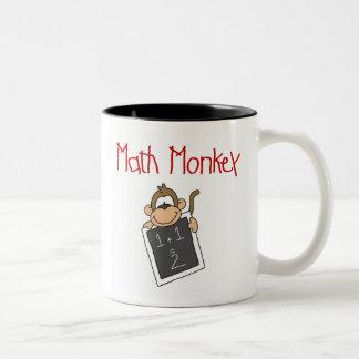 Mono de la matemáticas taza de dos tonos