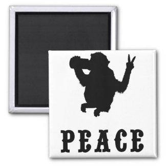 Mono de la paz imán cuadrado