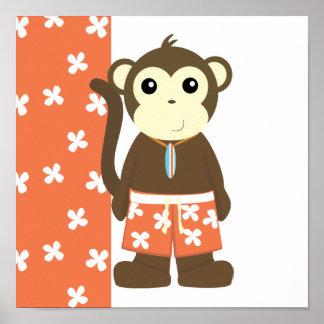 Mono de la persona que practica surf póster