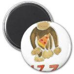 Mono de la pizza imanes