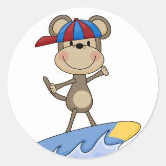 Mono de la playa - camisetas y regalos que pegatina redonda