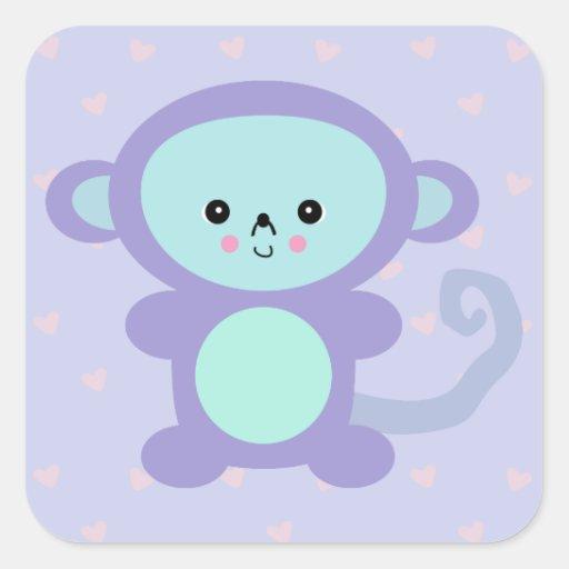 mono de la púrpura del kawaii pegatina cuadrada