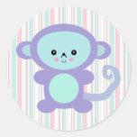 mono de la púrpura del kawaii pegatina redonda