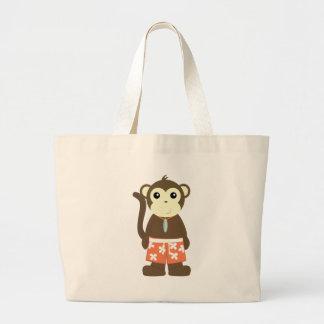 Mono de la resaca bolsa lienzo