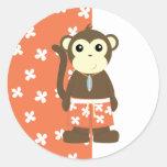 Mono de la resaca pegatina redonda