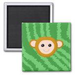 Mono de la selva, cara imán de frigorifico