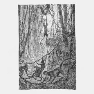 Mono de la selva de los monos de araña de los 1800 toalla de cocina