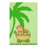Mono de la selva en fiesta de bienvenida al bebé d papelería