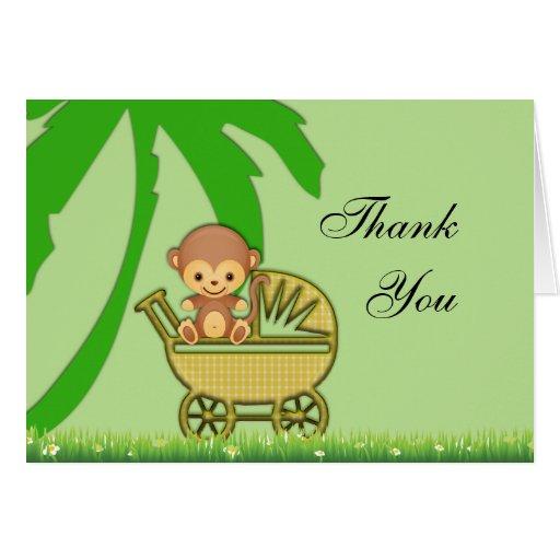 Mono de la selva en fiesta de bienvenida al bebé d tarjeta