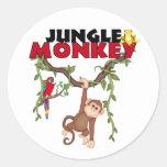 Mono de la selva pegatina redonda