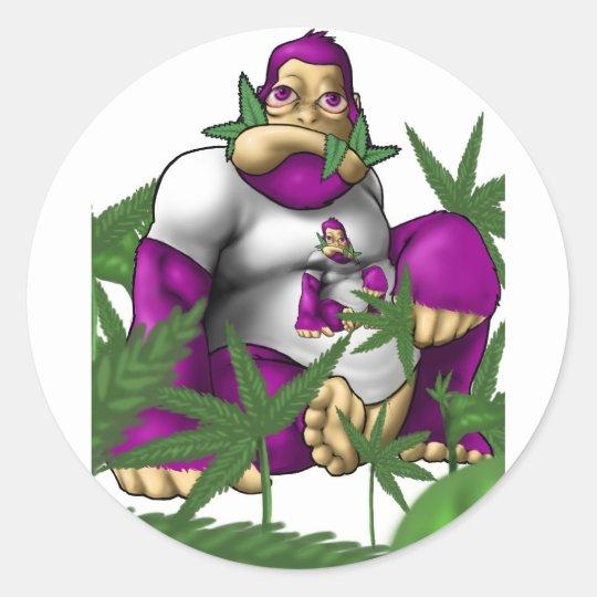 Mono de la uva pegatina redonda