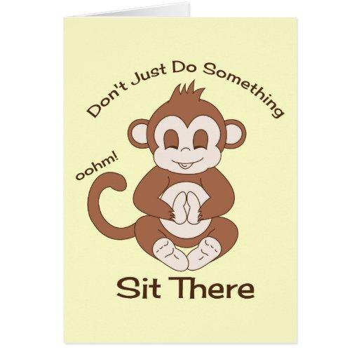 Mono de la yoga de la meditación tarjeta de felicitación
