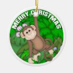 Mono de las Felices Navidad Adorno De Reyes
