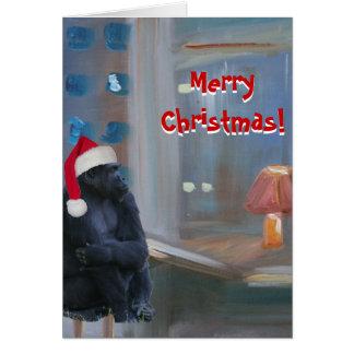 Mono de las Felices Navidad Tarjetón