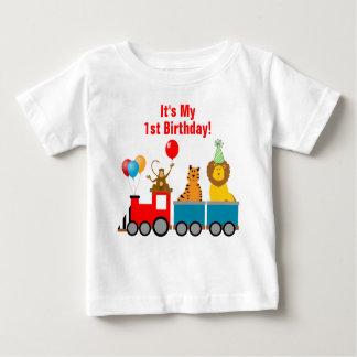 Mono de león animal del cumpleaños del muchacho playera de bebé