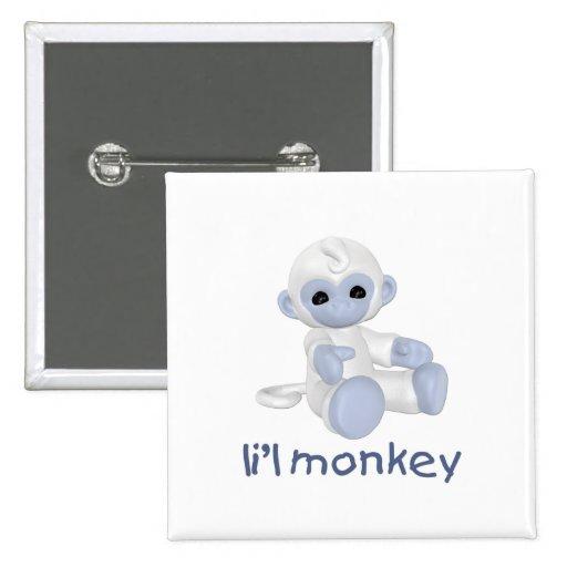 Mono de L'il (azul claro) Pin Cuadrada 5 Cm
