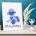 Mono de L'il (azul) Placa De Madera