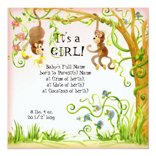 Mono de Lil, invitación del nacimiento del chica