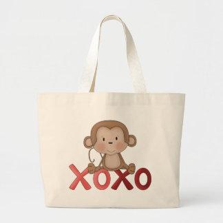 Mono de los abrazos y de los besos bolsas lienzo