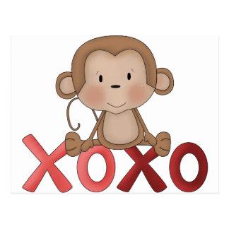 Mono de los abrazos y de los besos tarjetas postales