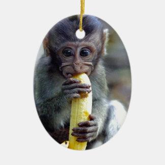 Mono de macaque lindo del bebé que come el plátano adorno navideño ovalado de cerámica