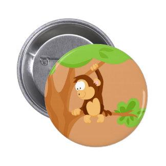 Mono de mi serie de los animales del mundo pin redondo de 2 pulgadas