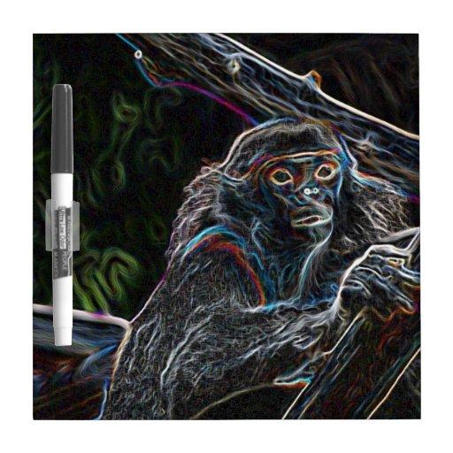 Mono de neón tablero blanco