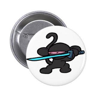 Mono de Ninja en Guardia-Ningunas palabras Pin Redondo 5 Cm