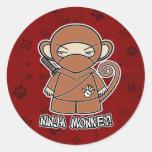 ¡Mono de Ninja! En pegatina rojo