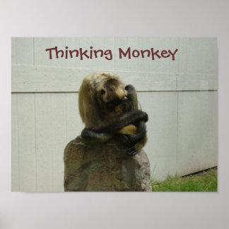 Mono de pensamiento poster