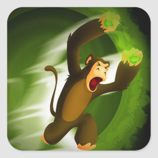 Mono de Poo del veneno Pegatina Cuadrada