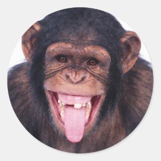 Mono de risa pegatina redonda