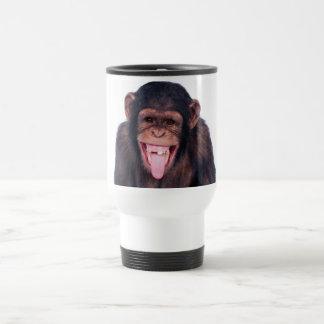 Mono de risa taza de viaje de acero inoxidable