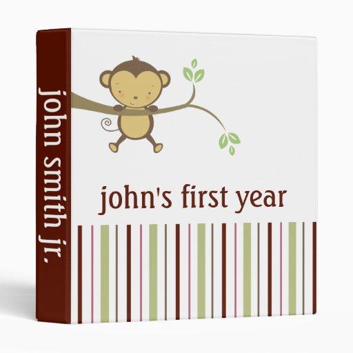 """Mono del año del libro del bebé primer carpeta 1"""""""